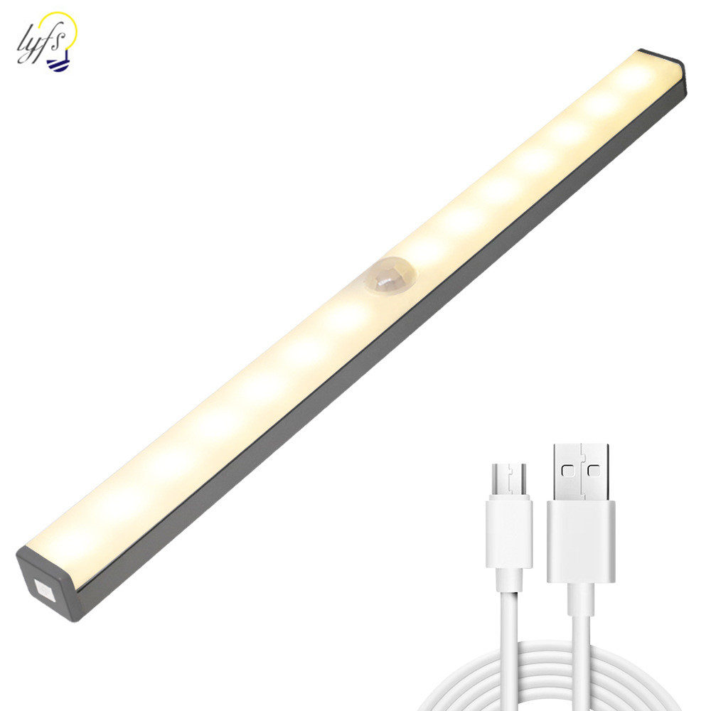 LED Sensor Night Light Wireless Dimming USB Cabinet Light Bedroom Living Room Corridor Motion Sensor Wall Lamp