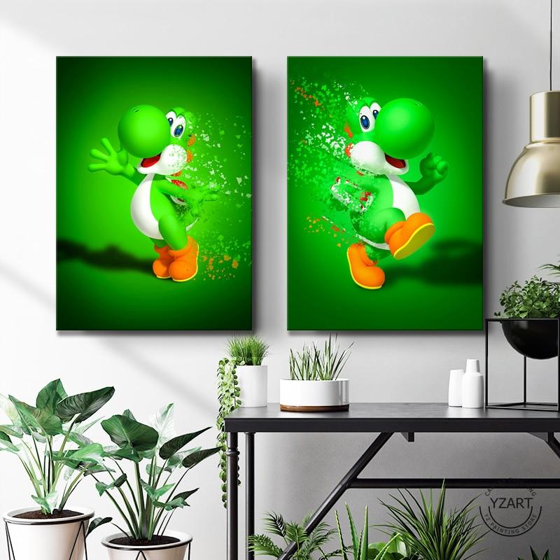 Abstract Art Cartoon Picture Mario&Yoshi&Peach Super Mario Video Games Art Wall Decor Paintings Super Smarch Bros Games Art 2
