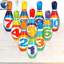 Bowling Set Speelgoed 10 Kleurrijke Zachte Foam Bowling Pins 2 Bal Indoor Speelgoed Toss Bal Indoor Outdoor Speelgoed Party Fun familie Game Gifts(China)