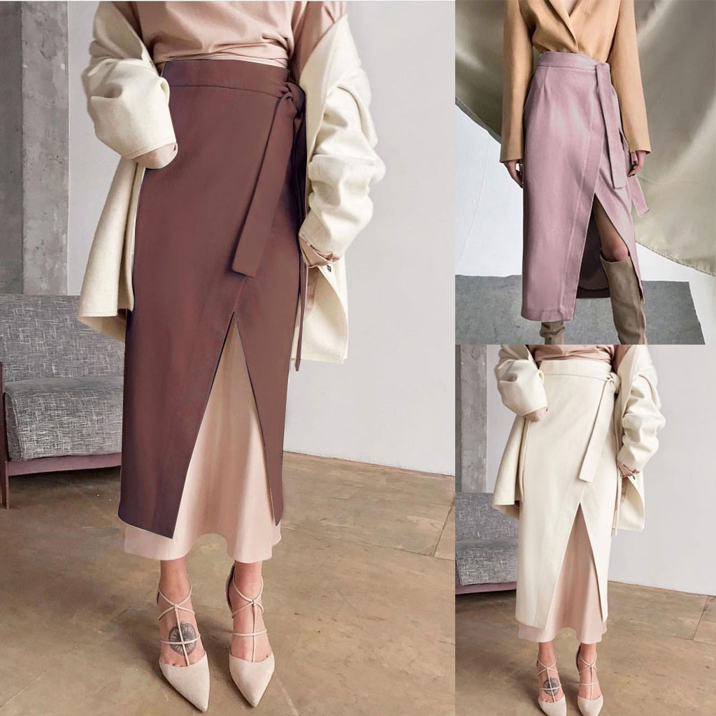 Ladies Fashion Autumn  Winter Solid Color Wild Style Thick Belt  Skirt Dropshipping Winter 2020 Fashion Work Clothes Business Fo