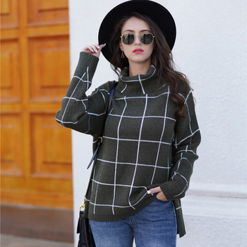 цена на plaid knitted pullover sweater winter clothes women 2019 fall  turtleneck long sleeve sweaters girls OL oversized sweater