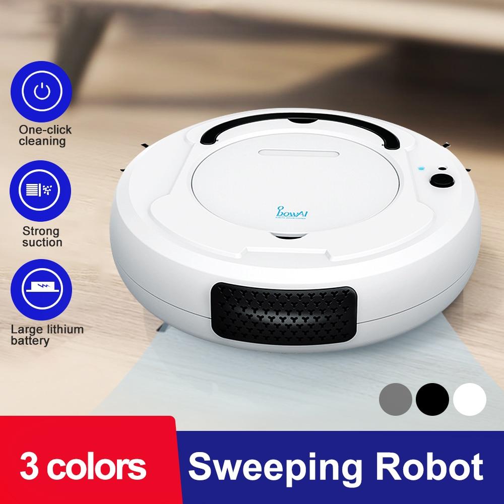 1800Pa Robot balayeuse de sol 3-en-1 USB Rechargeable Robot aspirateur sec humide balayage de sol dépoussiéreur Aspiradora