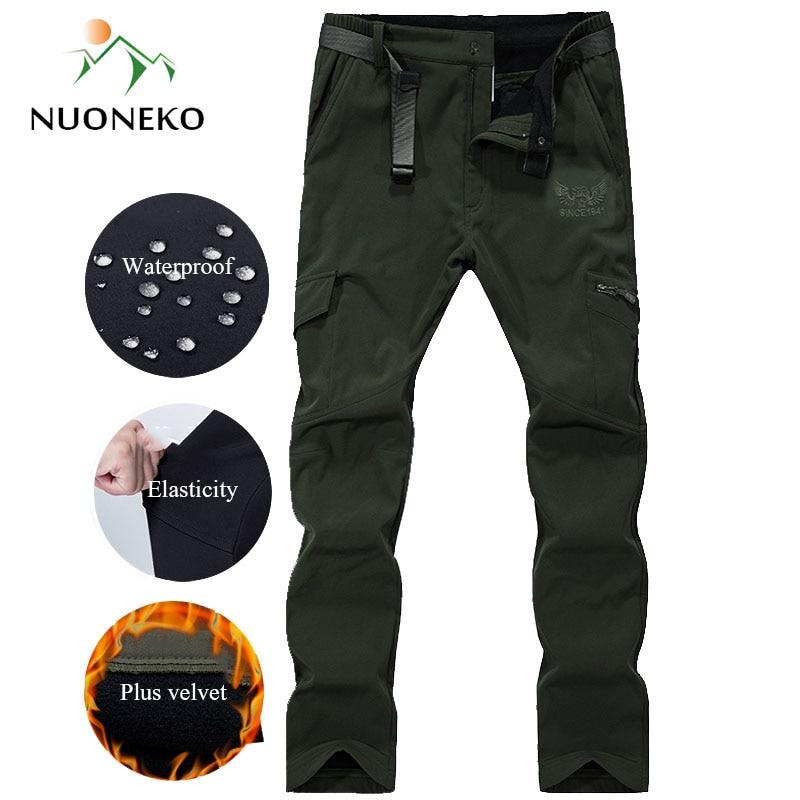 Men's Winter Hiking Pants Men Fleece Softshell Trousers Man Outdoor Mountain Skiing Trekking Army Thick Waterproof Pants PM31