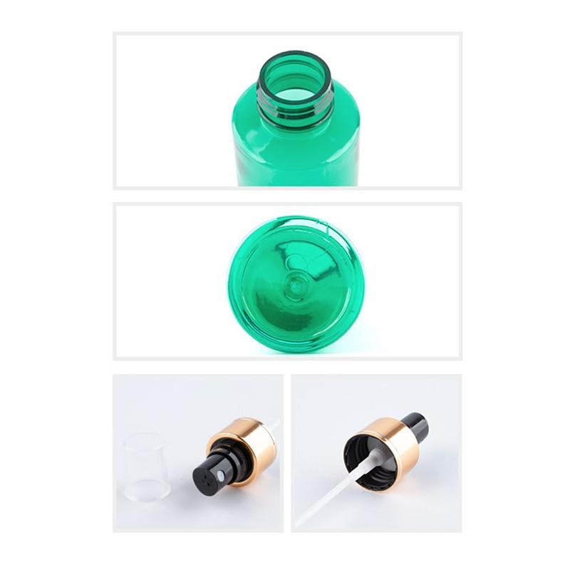 50pc/lot  Empty Transparent Perfume Spray Bottle 100ml Clear Plastic Bottle With Gold Aluminum Mist Sprayer Pump Container-1
