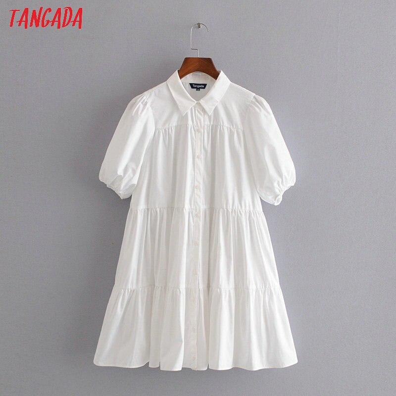 Tangada Fashion Women White Peter Pan Collar Mini Dress For Summer Puff Short Sleeve Ladies Vintage White Dress Vestidos 3H415