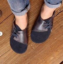 Femmes à la main Plat Rétro Pu En Cuir À Lacets Nouvelle Mode Lumière Confortable Décontracté Chaussures Femme Zapatos De Mujer KA362