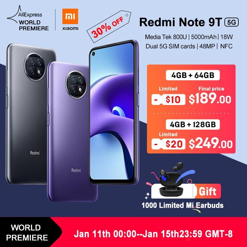 """Preventa estreno mundial 5G nuevo versión Global Xiaomi Redmi Note 9T NFC 4GB 64GB /128GB Smartphone 6,53 """"48MP Triple Cámara"""