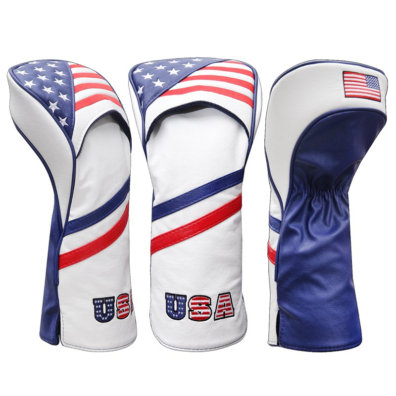 USA Patriot Golf Head Covers Driver 1 3 5 Fairway Woods Headcovers Fits 460cc Drivers PU Style Free Shipping