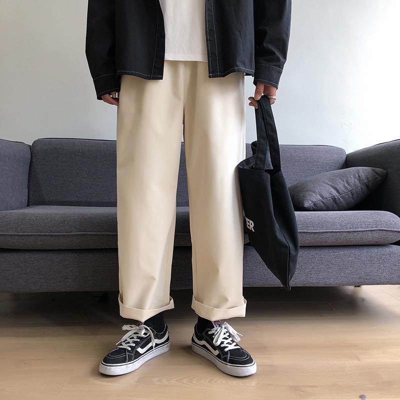 Wide Leg Pants Men Women Streetwear Hip-hop Casual Pants 2020 Japanese Elastic Waist Loose Soild Color Baggy Jogger Men Clothing