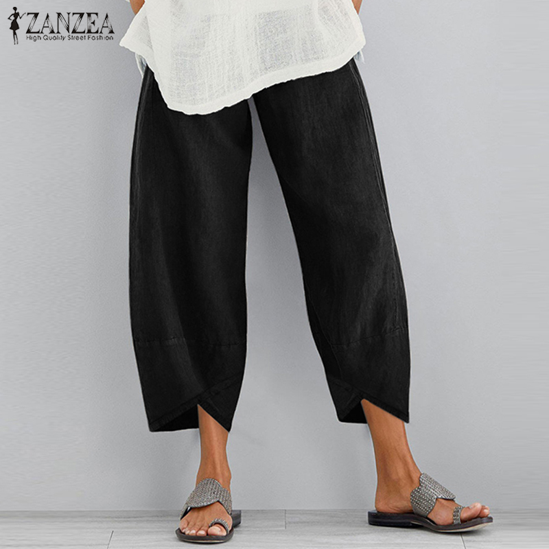 ZANZEA Women Cotton Linen Wide Leg Pants Ladies Asymmetric Long Trousers Elastic Waist Vintage Pockets Cargo Pants Streetwear