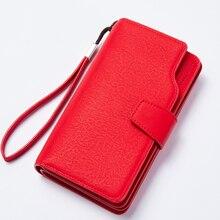 Women Wallet Female Purse Leather Wallet Long Coin Purse Card Holder Money Clutch Wristlet Multifunction Carteira Feminina