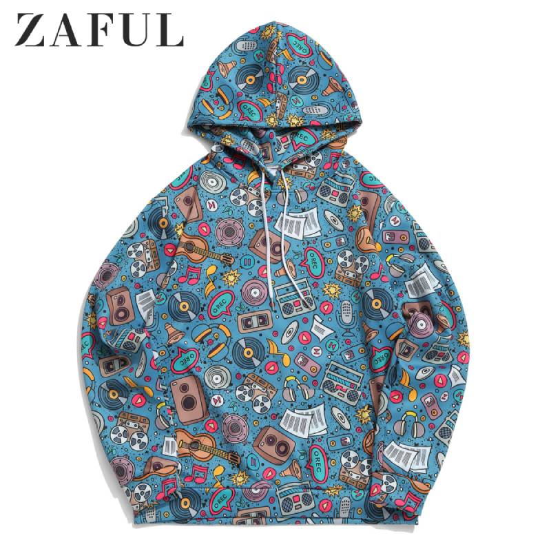 ZAFUL Men Music Elements Graphic Print Casual Hoodie Long Sleeve Kangaroo Pocket Tops Casual Hip Hop Funny Streetwear Sweatshirt