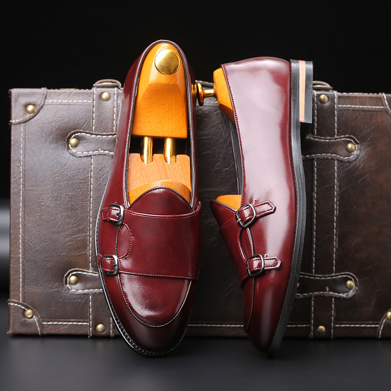Fashion Men Loafer New Handmade Retro Double Monk Buckle Straps Casual Shoes Men Moccasins For Men Leather Flat Shoes