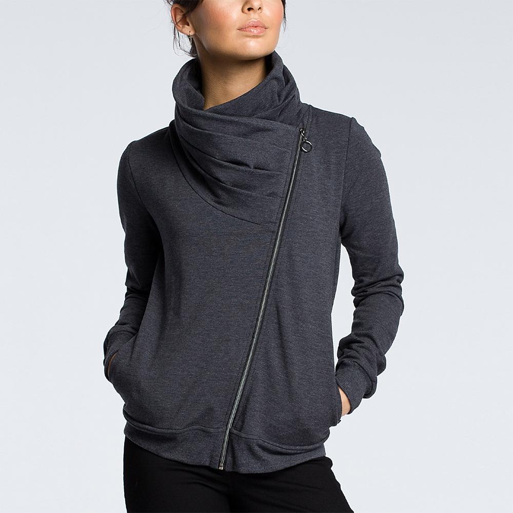 Casual Long Sleeve Turtleneck Zipper Hoodies Women Autumn Irregular Neckline Pleated Sweatshirts Solid Pullover Female Outwear