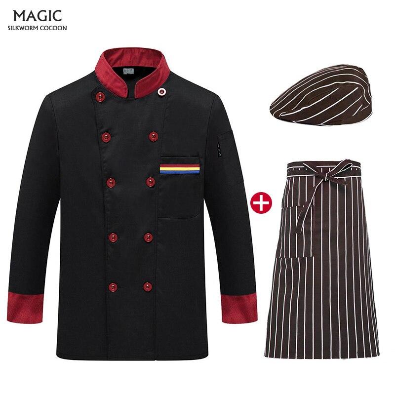 Cook Coat Barista Baker Work Uniform Chef Jacket Long Sleeve Restaurant Chef Uniform Waiter Restaurant Hotel Clothes Chef Hat
