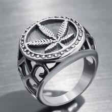 Панк готический полый дизайн круглый кленовый лист кольца-печатки винтажный лист конопли палец мужские кольца Мужские Модные Винтажные Ювелирные изделия