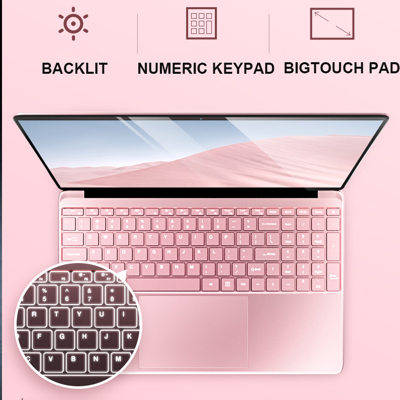 15.6'' Gaming Laptop With Backlit keyboard Notebook Computer 8GB RAM DDR4 1TB 512G 256G 128G SSD Win10 Quad Core IPS Ultrabook 3