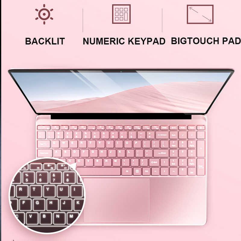 15.6 بوصة المعادن محمول مع الخلفية لوحة المفاتيح 8GB RAM DDR4 1 تيرا بايت 512G 256G 128G SSD دفتر الكمبيوتر Win10 رباعية النواة IPS Ultrabook
