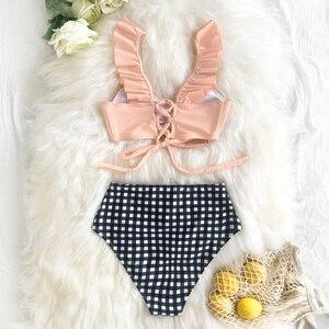 Image 2 - CUPSHE Sexy bleu rayé et taille haute volants Bikini ensembles femmes mignon deux pièces maillots de bain 2020 fille plage maillots de bain
