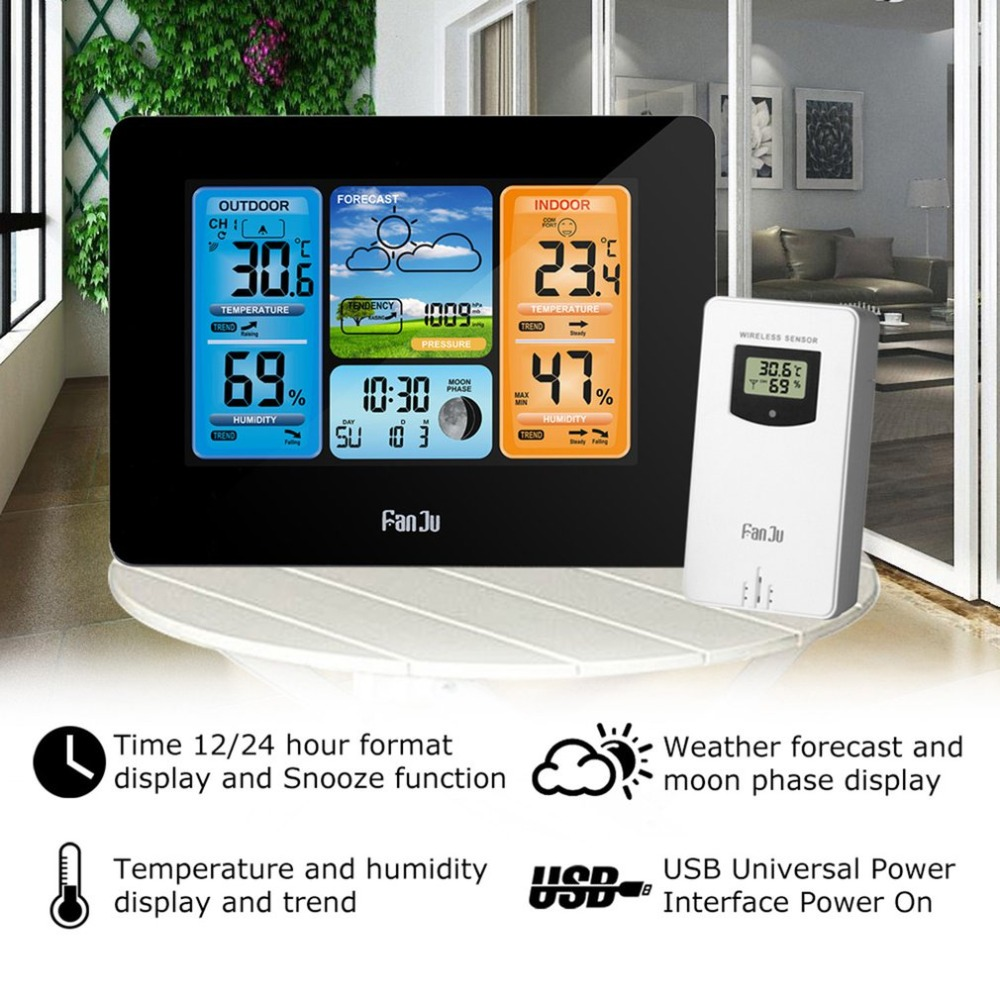 Wireless Weather Station Color Forecast With Alert Temperature Humidity Barometer Alarm Moon Phase Colorful FJ3373