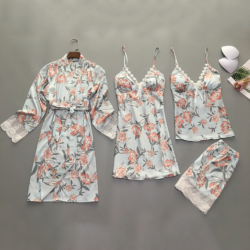 4 Pieces/set Women Pajamas Sets Satin Lace Sexy Pijama 2019 Pyjama Mujer Pyjamas For Women Silk Flower Print Sleepwear