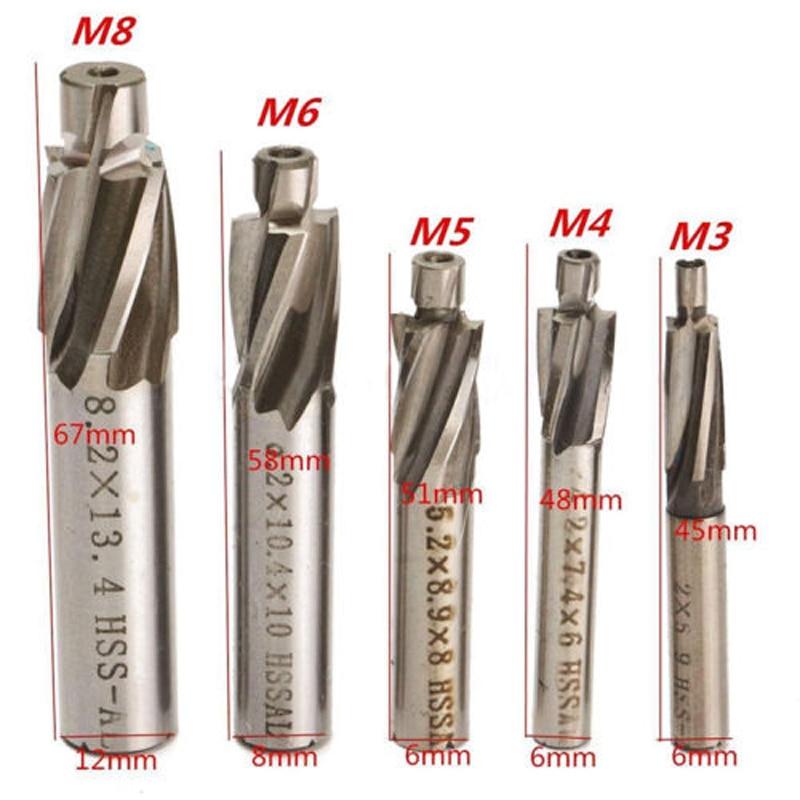 5 шт. 4 флейты HSS Цековка торцевой фрезы M3-M8 резак сверло Долбежные инструмент фреза зенковки сверло Биты