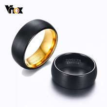 Vnox-Anillos de Carburo de Tungsteno negra para hombre, 8mm, interfaz de banda de boda, superficie mate, clásica, Alianza masculina, regalo de aniversario