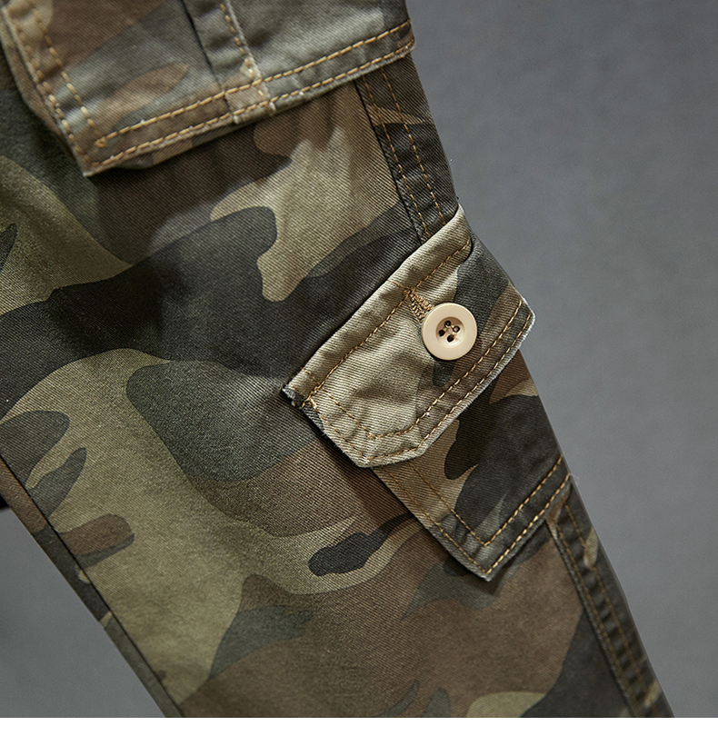 KSTUN Cotton Cargo Pants Men Straight Cut Tactical Military Overalls Multi Pocket Camouflage Pants Khaki Pants Man Trousers Sweatpants 25