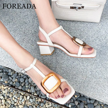 FOREADA Women Sandals High Heels Natural Genuine Leather Thick Mid High Heel Shoes Buckle T-Strap Square Toe Sandals Lady Beige new genuine leather buckle strap women sandals high heel thick heel metal studded shoes women party