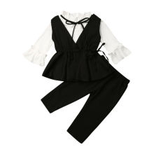 1-6Years Toddler Baby Girl Kid Clothing Set Party Formal Suit Ruffle White Blouse Black Waistcoats Autumn Winter Costumes