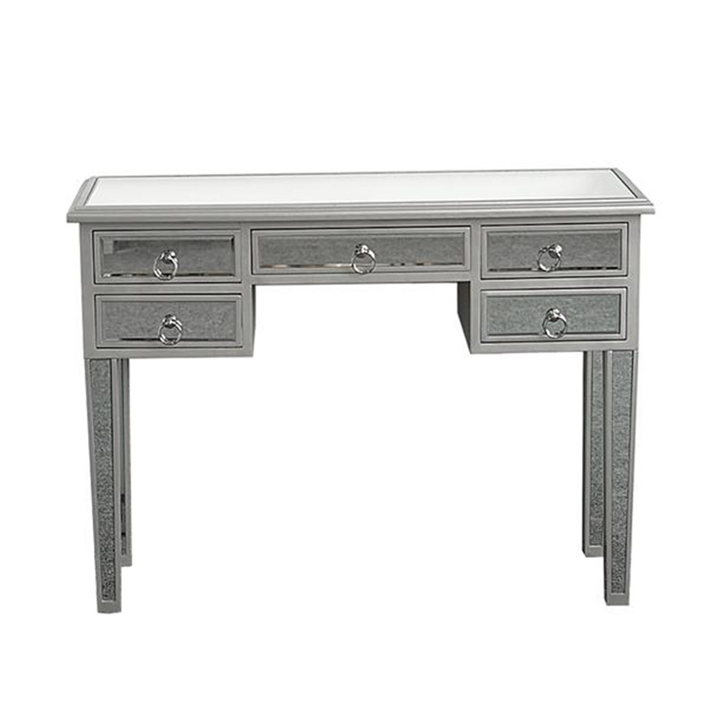 High Quality Illusions Collection Mirrored Entryway Console 5 Glass Desk 5 Drawers Bedroom Dressing Table
