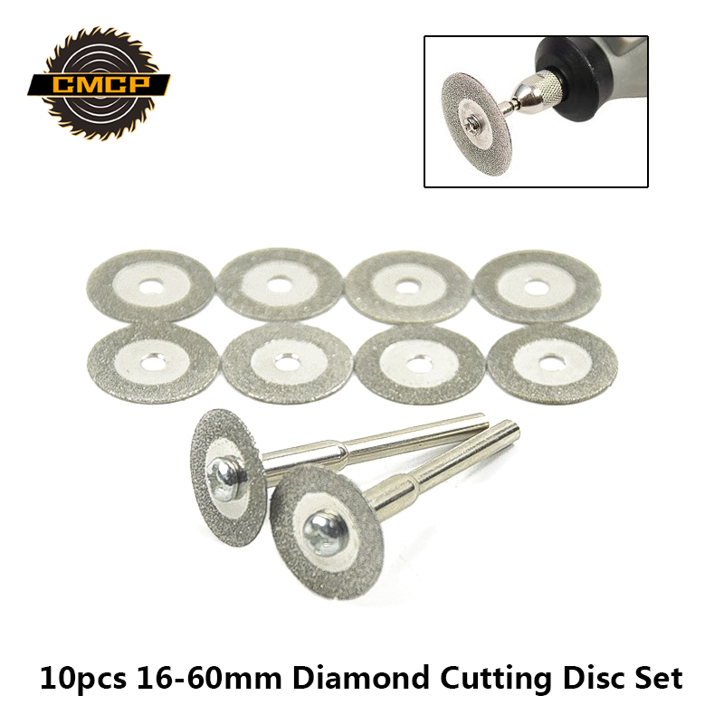 10pcs 16-60mm Mini Diamond Saw Blade For Rotary Tools Dremel Diamond Cutting Discs With Mandrel Micro Saw Blade Diamond Discs