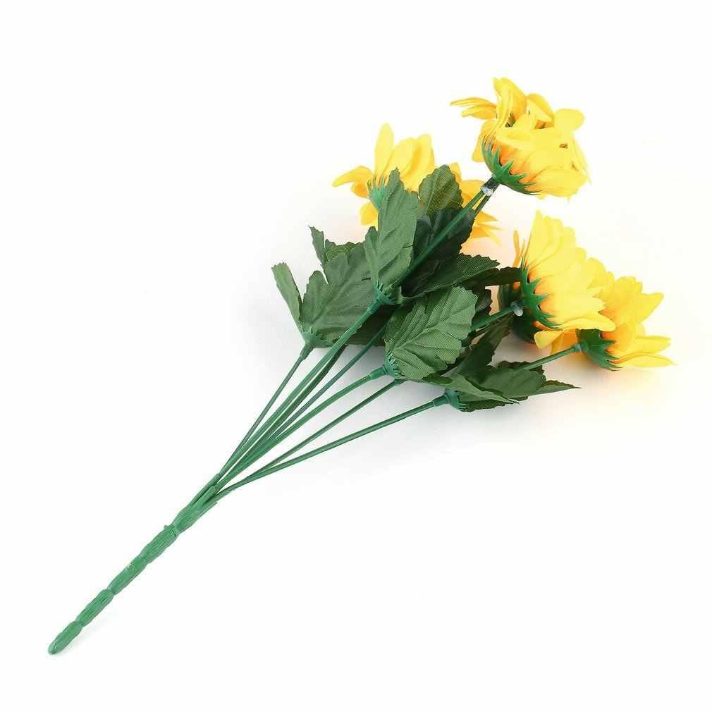 تماما اليدوى جميلة سبعة رؤساء الجمال وهمية عباد الشمس زهرة حرير اصطناعية باقة الرئيسية الزهور ديكور الأصفر هبوط السفينة