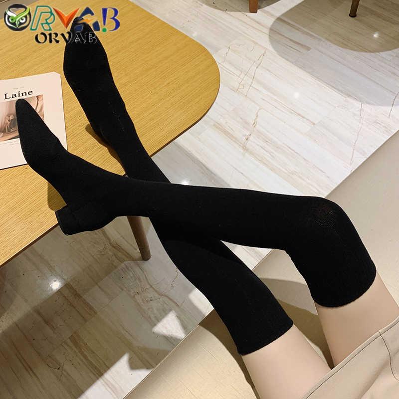 Chaussette bottes longues automne hiver nouvelle mode sans lacet chaussette chaussures femme sur le genou bottes bout pointu cuissardes dames Slim