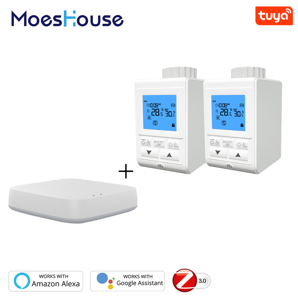 Zigbee Smart Thermostatic Radiator Valve Controller TRV Thermostat Tuya Temperature Voice Control Works With Alexa Google Home