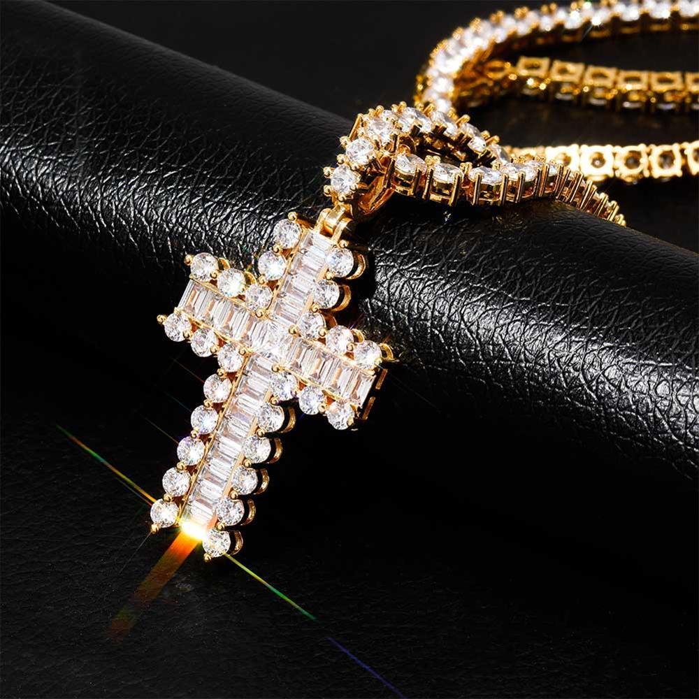 Nouveau collier pendentif croix pavée Zircon brillant bijoux hip-hop pour hommes femmes or argent glace CZ avec chaîne de Tennis