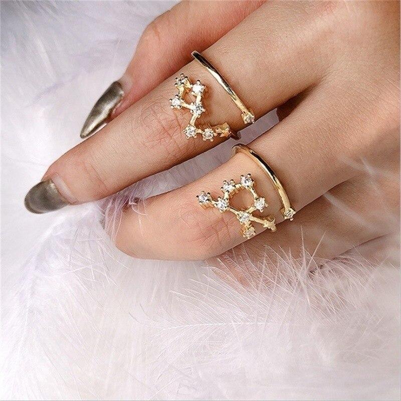 12 созвездия зодиака значок кольца для женщин Регулируемый Золотой Серебряный цвет кубический циркон кристалл кольца на палец ювелирные из...