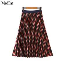 Vadim נשים אלגנטי פסים הדפסת midi חצאית אלסטי מותניים רטרו נשי מזדמן בסיסי קפלים אמצע עגל חצאיות BA897