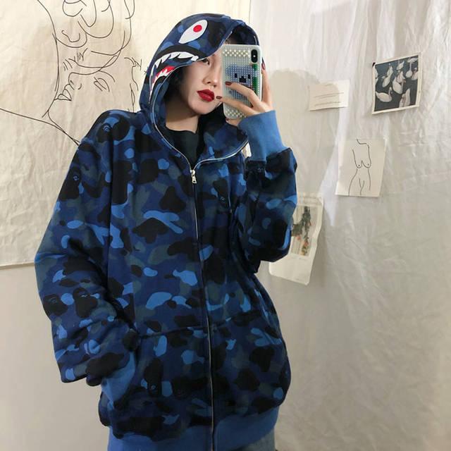 Shark Camouflage Hoodie Stylish Hoodies Unisex color: Blue|Fuchsia|White