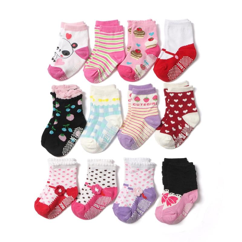 6 пар/лот для девочек, носки с нескользящей подошвой для детей младшего возраста, хлопковые носки-тапочки для маленьких От 1 до 3 лет
