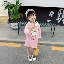 Girls autumn unicorn rainbow new two-sided wear long sleeve T-shirt in the spring and autumn children's coat girl dress цены