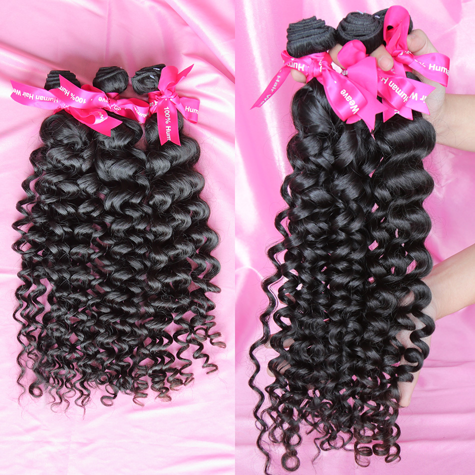 <font><b>Luvin</b></font> Brazilian Virgin Hair <font><b>Deep</b></font> <font><b>Wave</b></font> 100% Human Hair Weaves Bundle Unprocessed Hair Weft 1 3 Piece Natural Color Shipping Free image