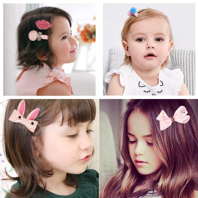 18 Pcs/Box Cartoon Baby Hair Clips Set Newborn Handmade Fabric Flowers Hair Bows Hairpins Barrettes Girls Cute Hair Accessories