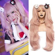 Anogol anime junko enoshima dangan ronpa luz rosa longo ondulado sintético cosplay perucas rabo de cavalo preto branco clipes de urso traje
