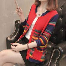 Fall - winter womens round collar color strip sweater blouse pocket rainbow women  korea
