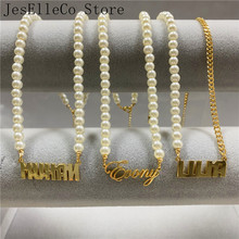 Personalized Name Custom Necklaces for Women Pearl Necklace Choker Stainless Steel Nameplate Pendant Statement Elegant Jewelry