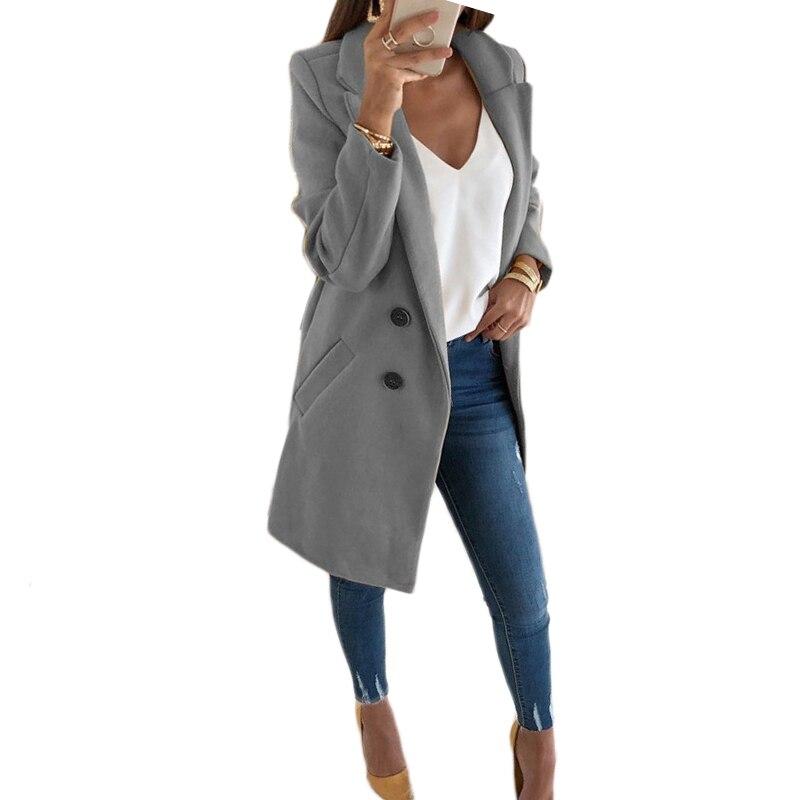 S-5XL Wool Blend Jacket Women Button Lapel Jacket Coat Female Plus Size Long Sleeve Winter Warm Overcoat Manteau Femme Hiver