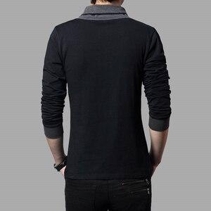 Image 5 - TFETTERS מותג סתיו אופנה גברים חולצה חולצה גברים טלאי V צוואר ארוך שרוול Slim Fit חולצה כותנה בתוספת גודל 4XL