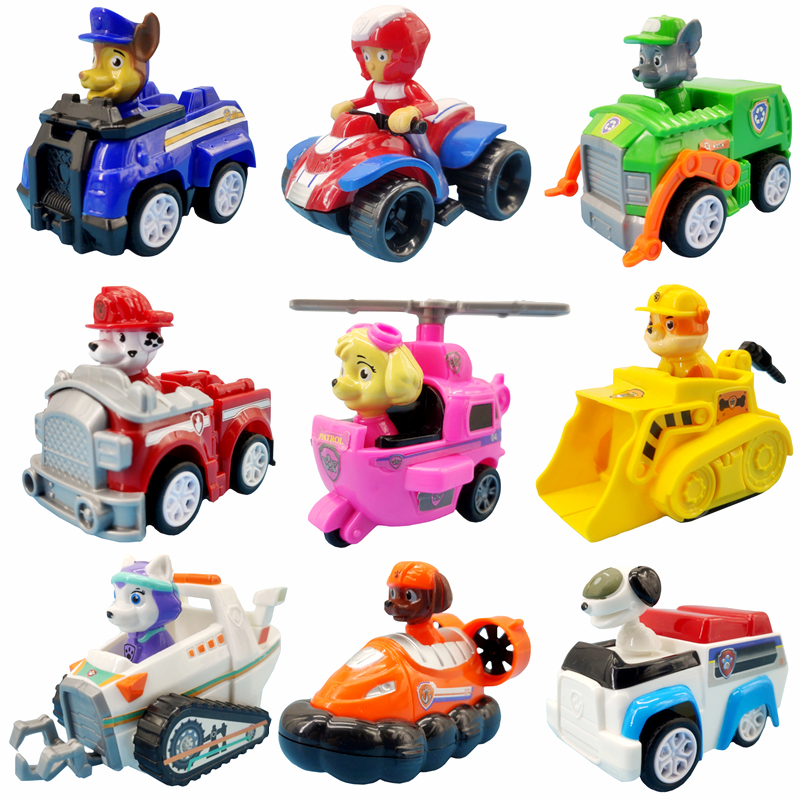 9 Style Paw Patrol Dogs Vehicle Pull Back Car Set Anime Action Figure High Quality Model Cars Toys Child Birthday Xmas Gifts