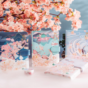 Mohamm PU Suction Buckle Peach Blossom Diary Notebooks And Journals Office Supplies Planner Accessories Stationery Gifts
